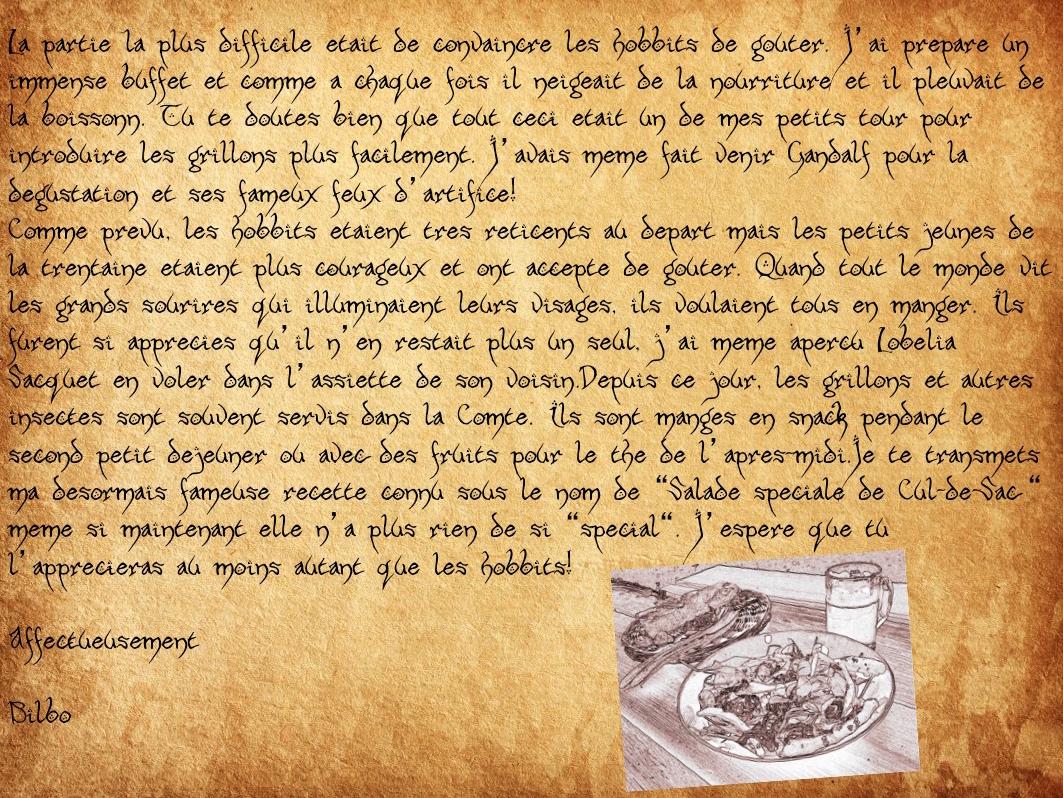 bilbo hobbit recette insectes entomophagie