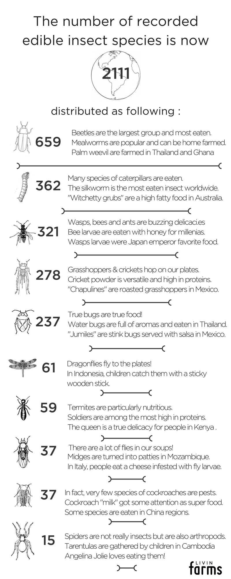 edible insects list entomophagy livin farms